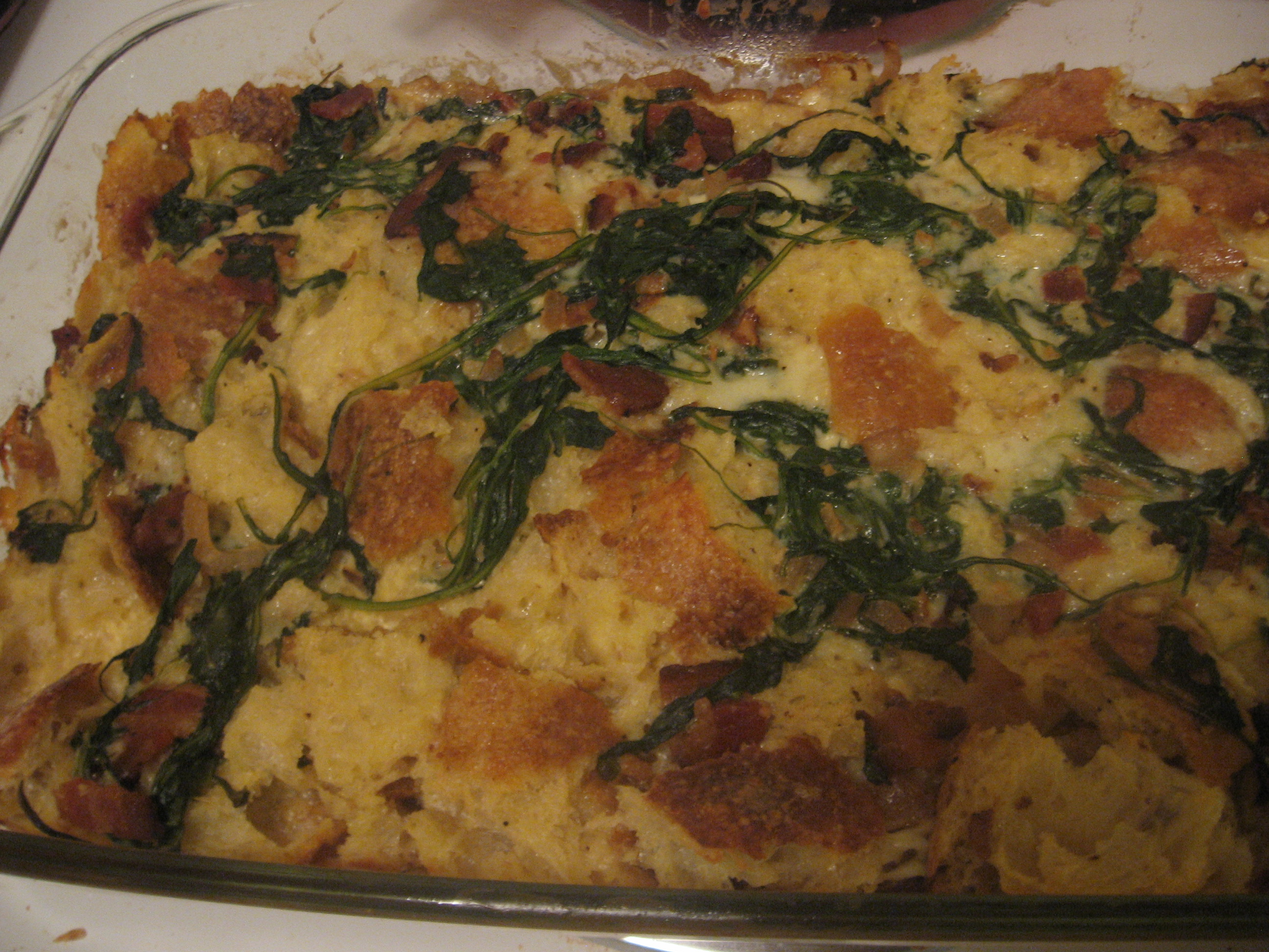 good thing: Bread pudding with bacon and arugula | The Food Beat